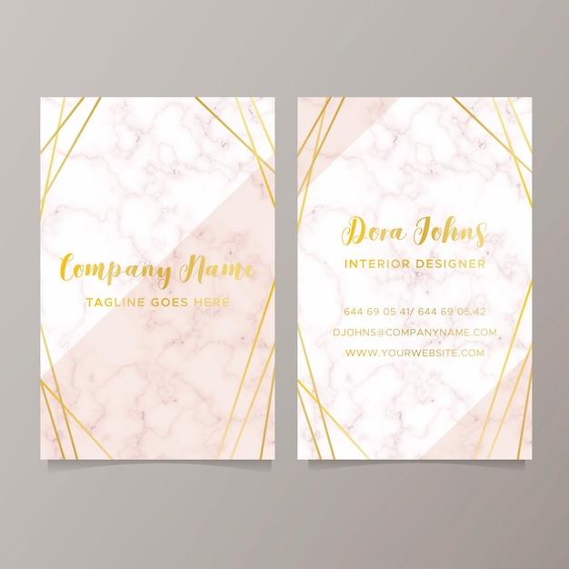 Elegante tarjeta de visita con textura de mármol. vector gratuito