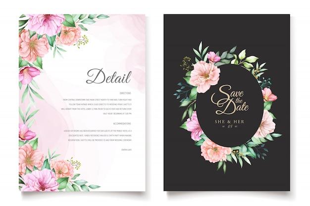 Elegante tema de invitación de boda de flor de cerezo vector gratuito