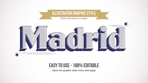 Elegante vintage line patter serif efecto de texto Vector Premium