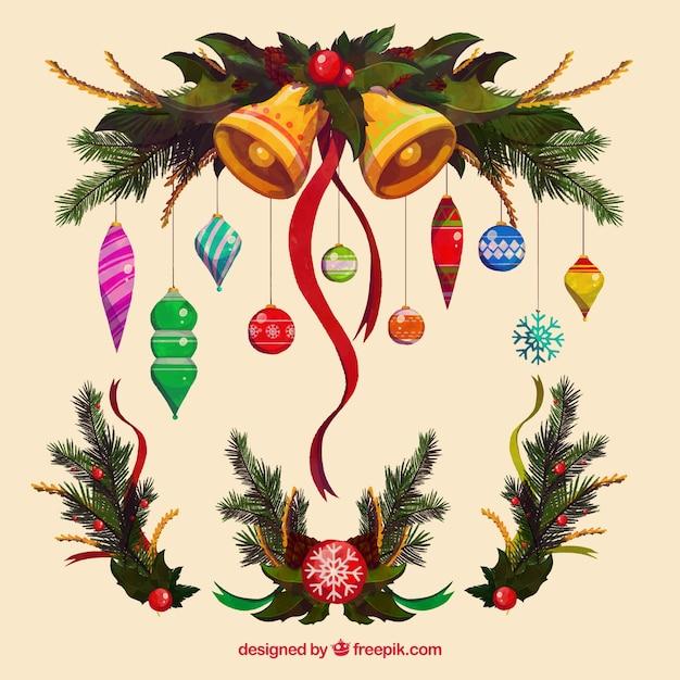 elegantes adornos navideos con elementos naturales de acuarela vector gratis