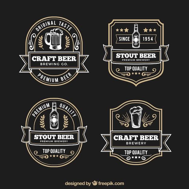 Elegantes etiquetas retro de cerveza dibujadas a mano vector gratuito
