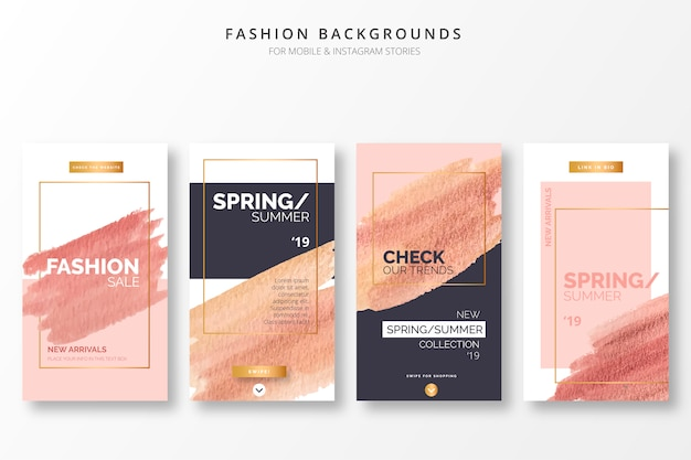 Elegantes fondos de moda para historias de insta vector gratuito