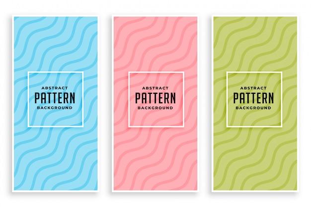 Elegantes líneas diagonales onduladas banderas de colores suaves. vector gratuito