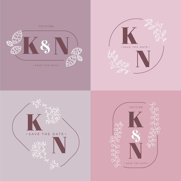 Elegantes monogramas de boda en colores pastel. vector gratuito
