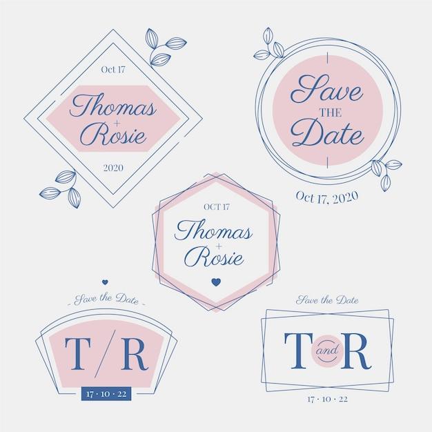 Elegantes monogramas y logotipos de boda vector gratuito