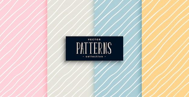 Elegantes patrones de líneas dibujadas a mano en cuatro colores. vector gratuito