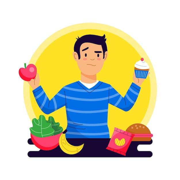 Elegir entre alimentos saludables o no saludables vector gratuito