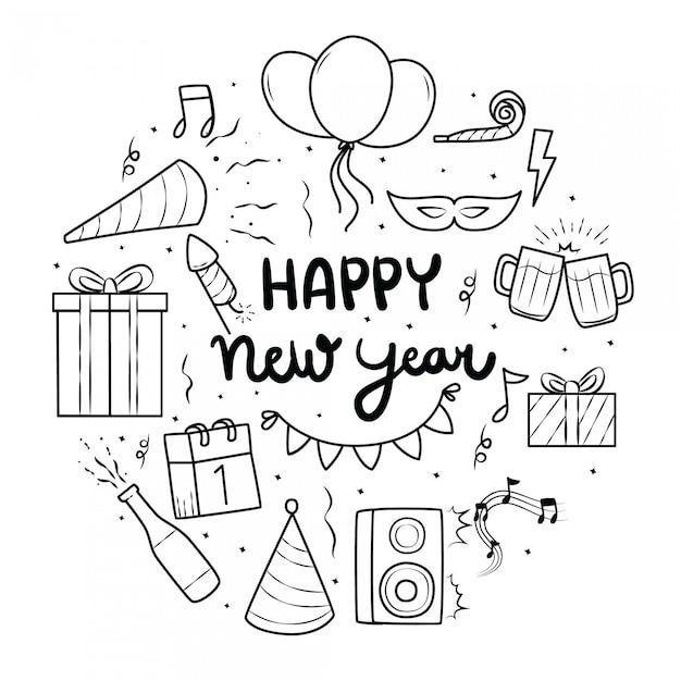 Elemento de año nuevo con estilo doodle Vector Premium