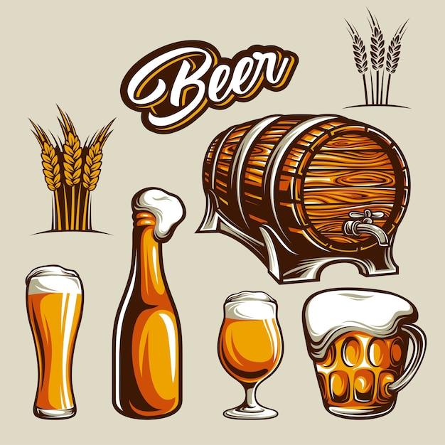 Elemento de cerveza Vector Premium