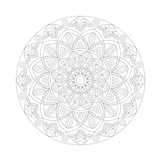 Elemento de diseño abstracto blanco negro. mandala redondo en vector. plantilla gráfica para su diseño. patrón circular Vector Premium