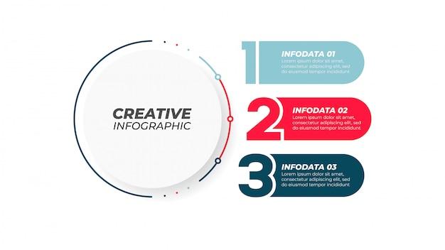 Elemento de diseño numérico del diagrama con 3 pasos, opciones. concepto creativo para informe anual, presentación. ilustración. Vector Premium
