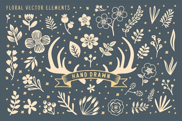 Elemento floral dibujado a mano Vector Premium