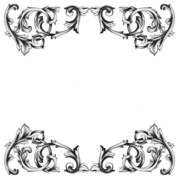 Elemento floral victoriano o damasco dibujado a mano vintage. arte de tinta grabada en blanco y negro. Vector Premium
