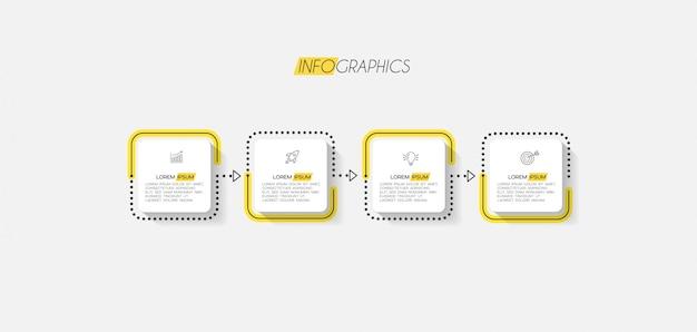 Elemento de infografía con iconos y 4 opciones o pasos. Vector Premium