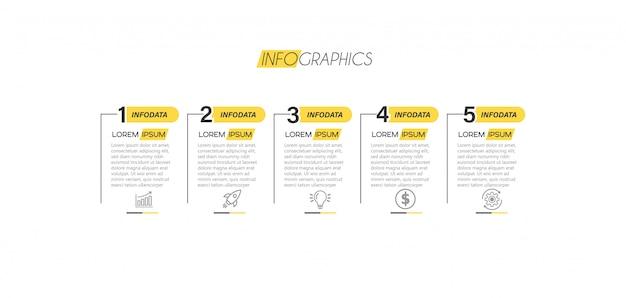 Elemento de infografía con iconos y 5 opciones o pasos. Vector Premium