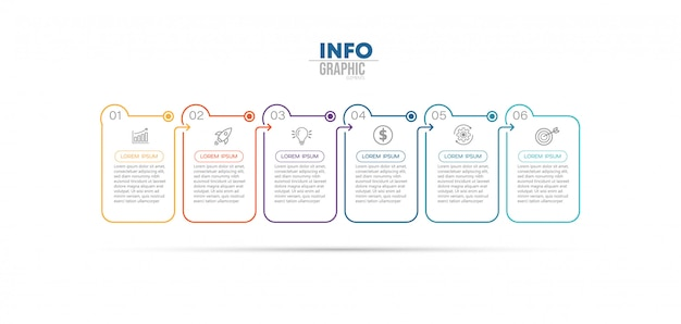 Elemento de infografía con iconos y 6 opciones o pasos. Vector Premium