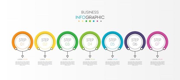 Elemento de infografía de línea de tiempo de círculo empresarial con opciones o pasos Vector Premium