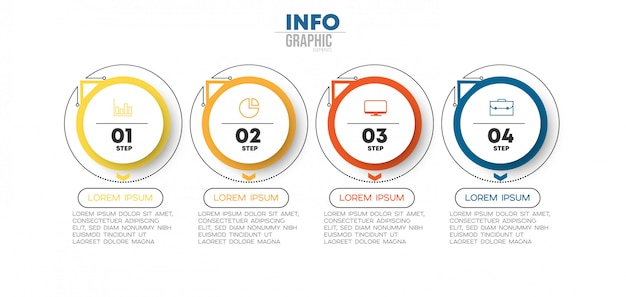 Elemento infográfico con iconos y 4 opciones o pasos. puede usarse para procesos, presentaciones, diagramas, diseño de flujos de trabajo, gráficos de información Vector Premium