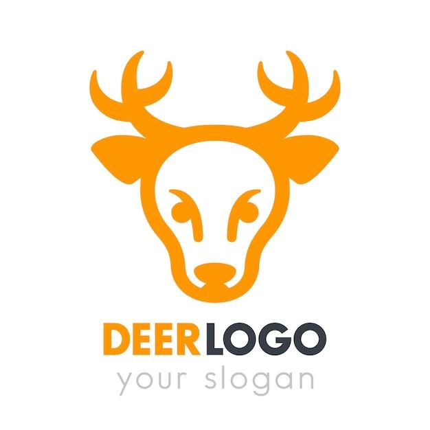 Elemento de logotipo de cabeza de ciervo en blanco Vector Premium