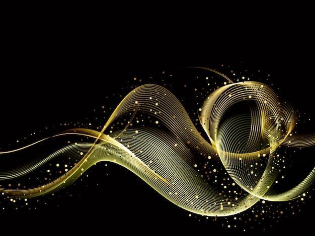 Elemento de onda de oro de color brillante abstracto con efecto de brillo sobre fondo oscuro. Vector Premium