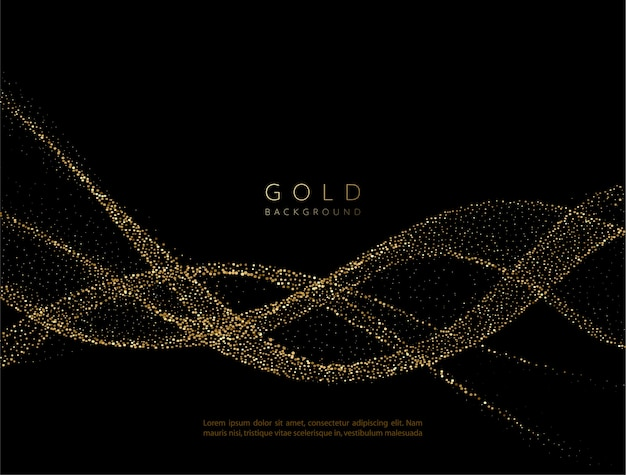 Elemento ondulado dorado brillante abstracto con efecto brillo. onda de flujo de oro sobre fondo oscuro. Vector Premium