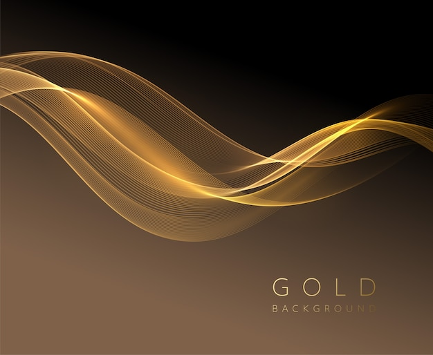 Elemento ondulado dorado brillante abstracto. onda de flujo de oro sobre fondo oscuro. Vector Premium
