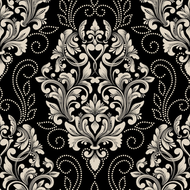 Elemento de patrón transparente damasco de vector. adorno de damasco antiguo de lujo clásico, estilo victoriano real vector gratuito
