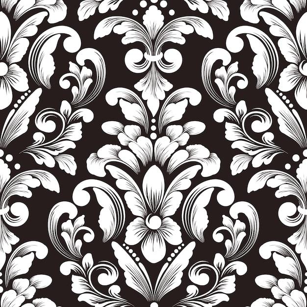 Elemento de patrón transparente damasco de vector. adorno de damasco antiguo de lujo clásico, textura perfecta victoriana real para fondos de pantalla, textiles, envoltura. exquisita plantilla barroca floral. vector gratuito