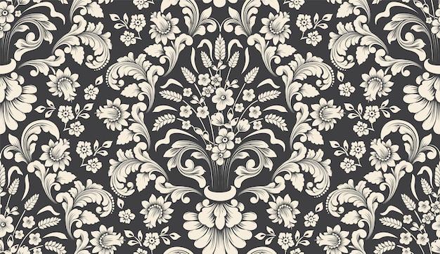 Elemento de patrón transparente damasco de vector. adorno de damasco antiguo de lujo clásico, textura perfecta victoriana real para fondos de pantalla, textiles, envoltura. vector gratuito