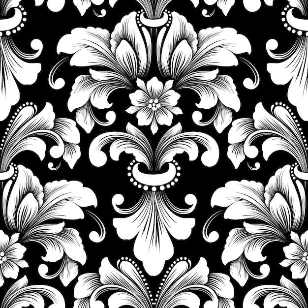 Elemento de patrón transparente damasco de vector. vector gratuito