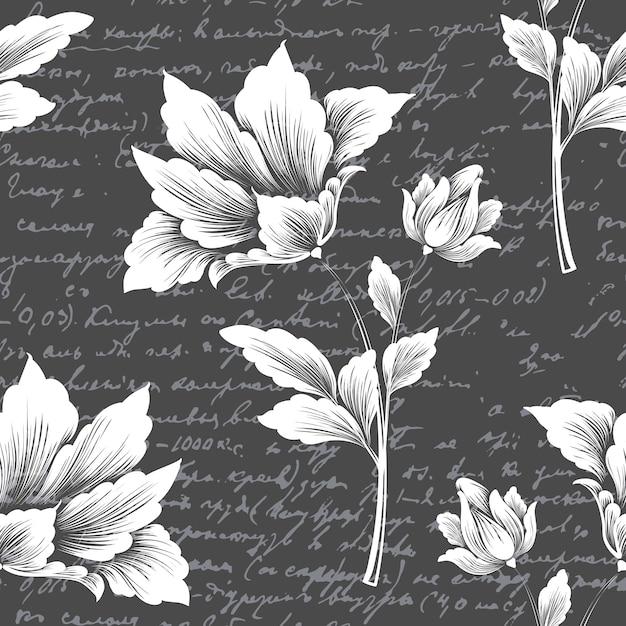 Elemento de patrón transparente de flor de vector con texto antiguo. vector gratuito