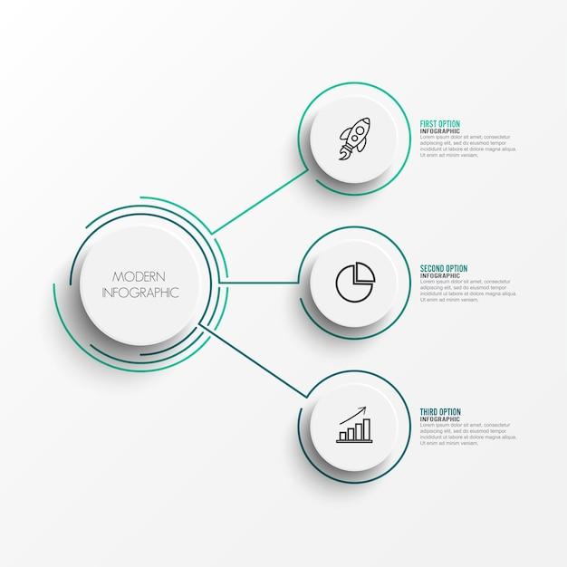 Elementos abstractos de la plantilla de infografía gráfico con etiqueta Vector Premium