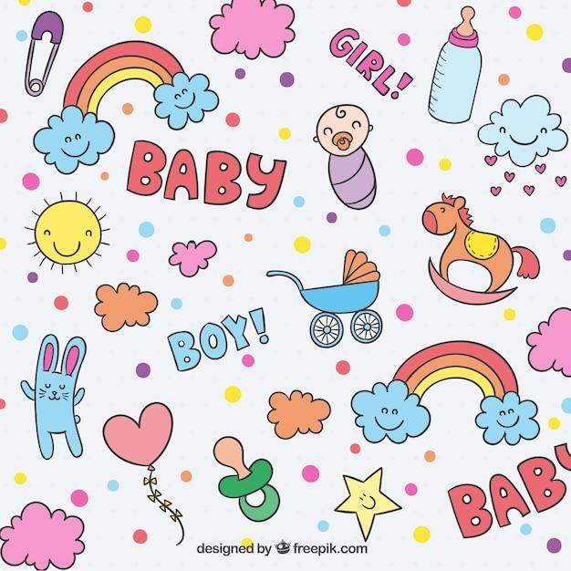 Elementos del bebé esbozados vector gratuito