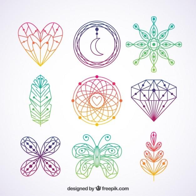 Elementos boho coloridos dibujados a mano vector gratuito