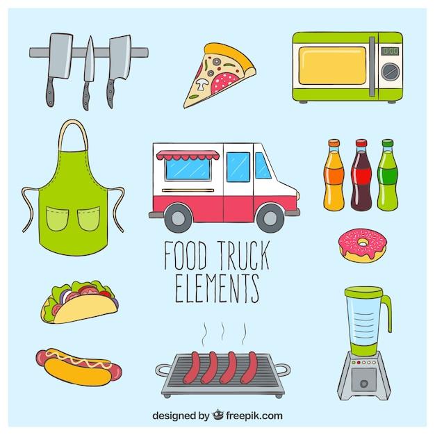 Elementos de un camión de comidas vector gratuito