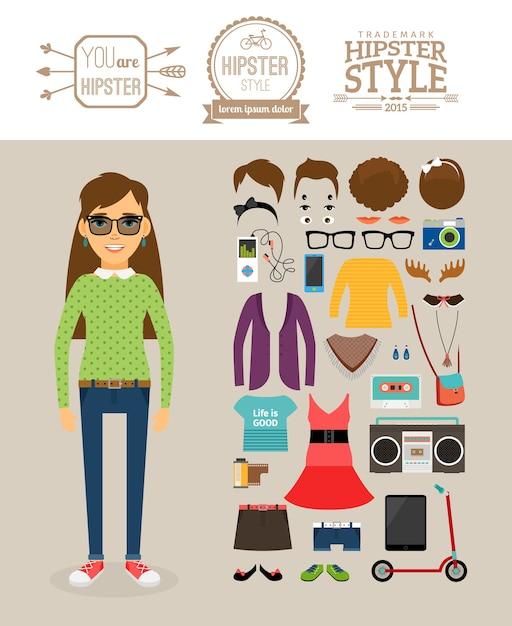 Elementos de la chica inconformista. ropa, peinados y logotipos hipster. vector gratuito