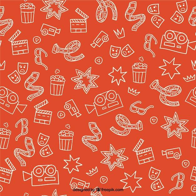 Elementos cimema bosquejos patrón de color naranja vector gratuito