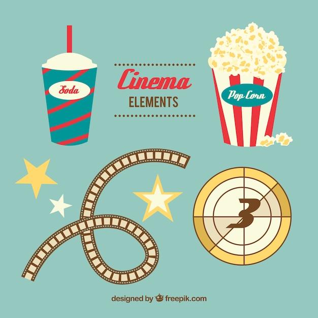 Elementos de cine paquete de diseño plano vector gratuito