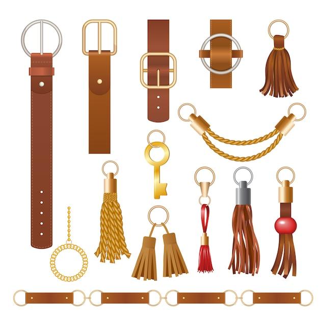 Elementos de cinturón. cadenas de cuero de moda muebles de tela joyas elegantes para la colección de ropa Vector Premium