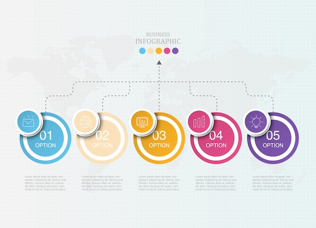 Elementos coloridos de infografía empresarial Vector Premium