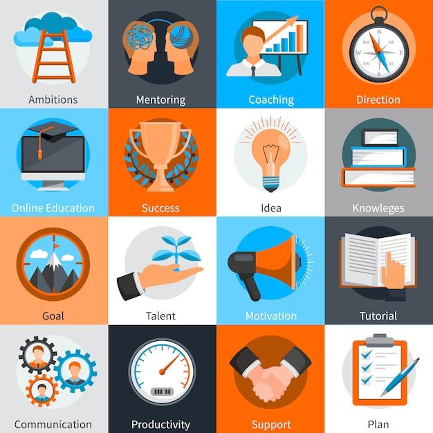 Los elementos del concepto de diseño plano para el desarrollo de habilidades de tutoría y entrenamiento establecen una ilustración vectorial aislada vector gratuito