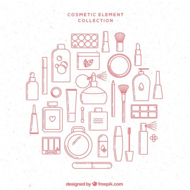 Elementos cosméticos rosa dibujados a mano vector gratuito
