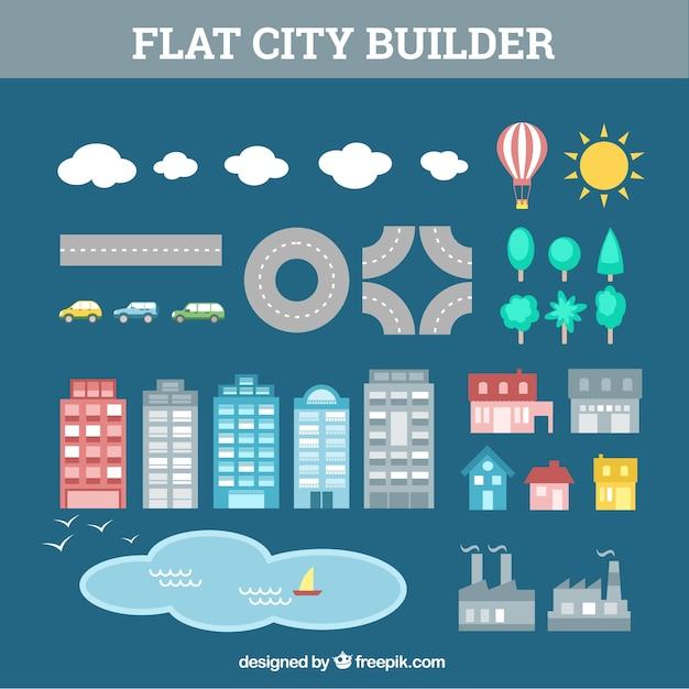 Elementos para crear una ciudad vector gratuito