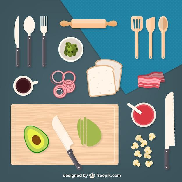 Elementos de cocina e ingredientes descargar vectores for Elementos cocina