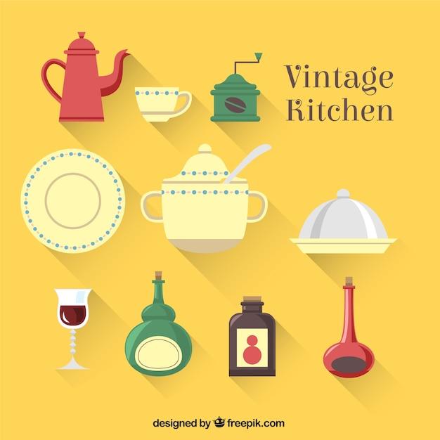 Elementos de cocina vintage descargar vectores gratis for Elementos cocina