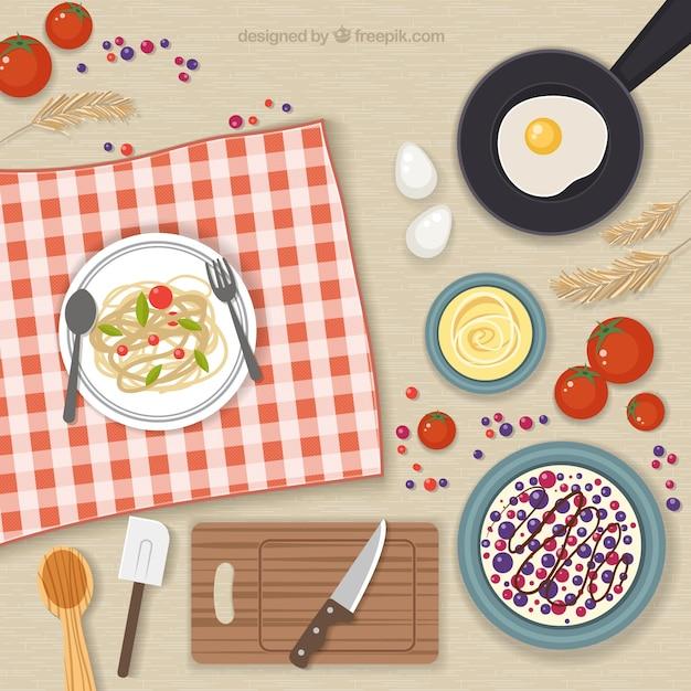 Elementos de cocina y comida descargar vectores gratis for Elementos de cocina para chef