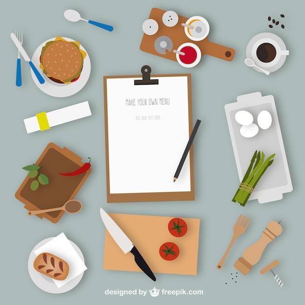 Elementos de cocina y men descargar vectores gratis for Elementos de cocina