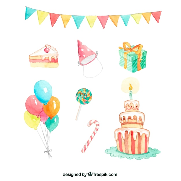 Elementos de cumpleaños en acuarela Vector Gratis