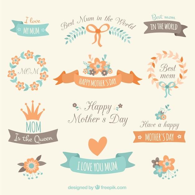 Elementos de decoraci n del d a de la madre descargar vectores gratis - Decoracion para el dia de la madre ...