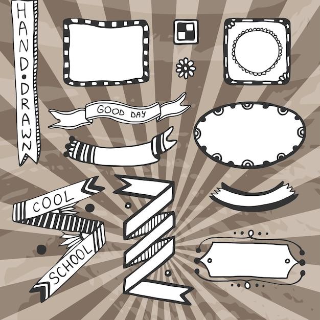 Elementos de diseño bricolaje de la vendimia. vector dibujo conjunto ...